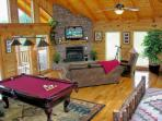 Pool Table - Fire Place - Large TV - Great Wall of Windows to view Cove Mountain!
