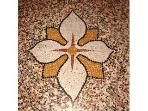 Mosaic terrazzo floors were hand-made by 19th century craftsmen