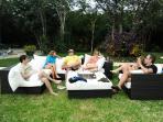 Lounge areas around gardens