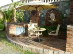 Native stone BBQ & wet bar