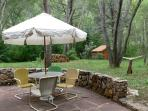 Large stone patio, with gas barbecue grill, overlooks the grassy meadow