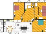 Floor plan, 4 separate bedrooms, Living room, hall with dining table, Kitchen, Bathroom, toilette.