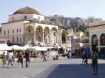 Monastiraki metro (the end of our street) 5 mins walk from the flat