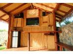Natural Wood sink/bar, fridge, 42' Flat Screen TV
