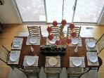 Dining room table from upstairs balcony