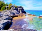 The rugged Georgian Bay shoreline is a short drive away from the cottage.