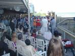 Sometimes you might catch a wedding next door at Shuckers.