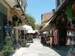 Plaka pedestrian street located right off the Acropolis circumference street