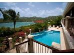 Villa BiJou's Spacious pool deck and view to Great Cruz Bay