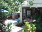 condo entrance with new patio