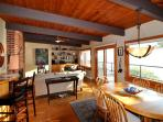 cozy living and dining areas
