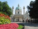 The KARLSKIRCHE is located in the neighboring Resselpark - very short walk away