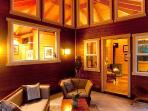 The Volcano Mist Cottage Lanai at Night is a very Romantic setting