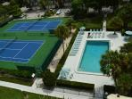 Olympic size pool (heated) and lighted tennis courts for your enjoyment