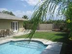Private, walled backyard with large pool and hot tub, gas BBQ and multiple lounge chairs