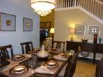 Dining Room Table Seats 6 plus 8 in Kitchen plus 2 in breakfast bar; comfortable seating for 16!.