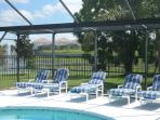 South Facing Pool and Lounge chairs