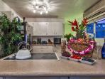 Fully appointed gourmet kitchen and a Hawaiian gift basket upon arrival