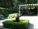 The private garden is perfect for evening dinner and a BBQ