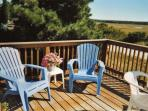Furnished back deck overlooking Scorton creek and salt marsh
