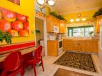 Kitchen Downstairs. Stove, microwave, Db door fridge/freezer, Db sink.  Fully equipped