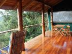 Enjoy breakfast on the balcony from our eucalyptus wood dining table and chairs.