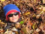 Kids and leaf piles in the fall--what can be better!