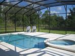 pool & spa with large decking area