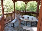 Breakfast out at the gazebo