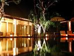 enjoy the pool at night