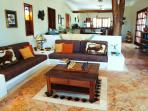Open living with 'Tikal' stone floors througout