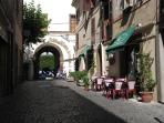 Monte Porzio Catone, a charming street with eateries