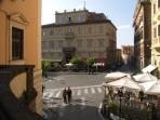 Nearby vibrant Frascati with stores and restaurants