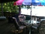 Sun and Shade Deck off the Kitchen With Patio Seating for Four.  Gas Grill and Great View of Open Cove