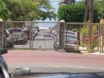 AT OUR STREET AFTER THIS GATE YOU CAN SEE AT THE END THE OCEAN