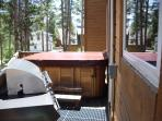 Rear deck with BBQ and hot tub