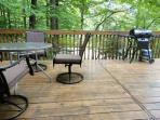 You'll enjoy rrelaxing among the treetops, and grilling on our brand new gas grill!