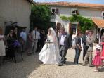 Courtyard with wedding guests