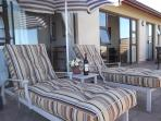 Sun chairs on balcony area