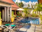 Salt water swimming pool and decking