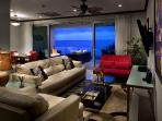 Comfortable living room with ocean view