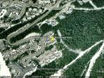Arrowhead Point on Google Earth. Ski-in access to the right is Home Run, Ski-out across the street.