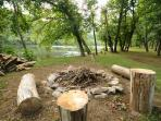 Picnic table & firepit at the river