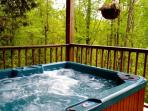 The hot tub on the lower balcony is surrounded by trees - very private!