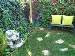 Backyard +fountain and seating