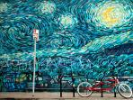 Van Gogh mural at the end of our walk-street.