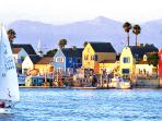 Colorful Fisherman's Village at neighboring Marina del Rey.