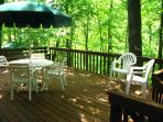 Large, relaxing back deck.  Has a gas grill