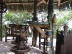 Tiki bar ( the bar is a ships rudder, stools from Bali