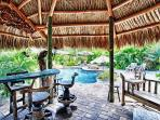 tiki offer a place in the shade. A hammock and ceiling fan if perfect for relaxing
